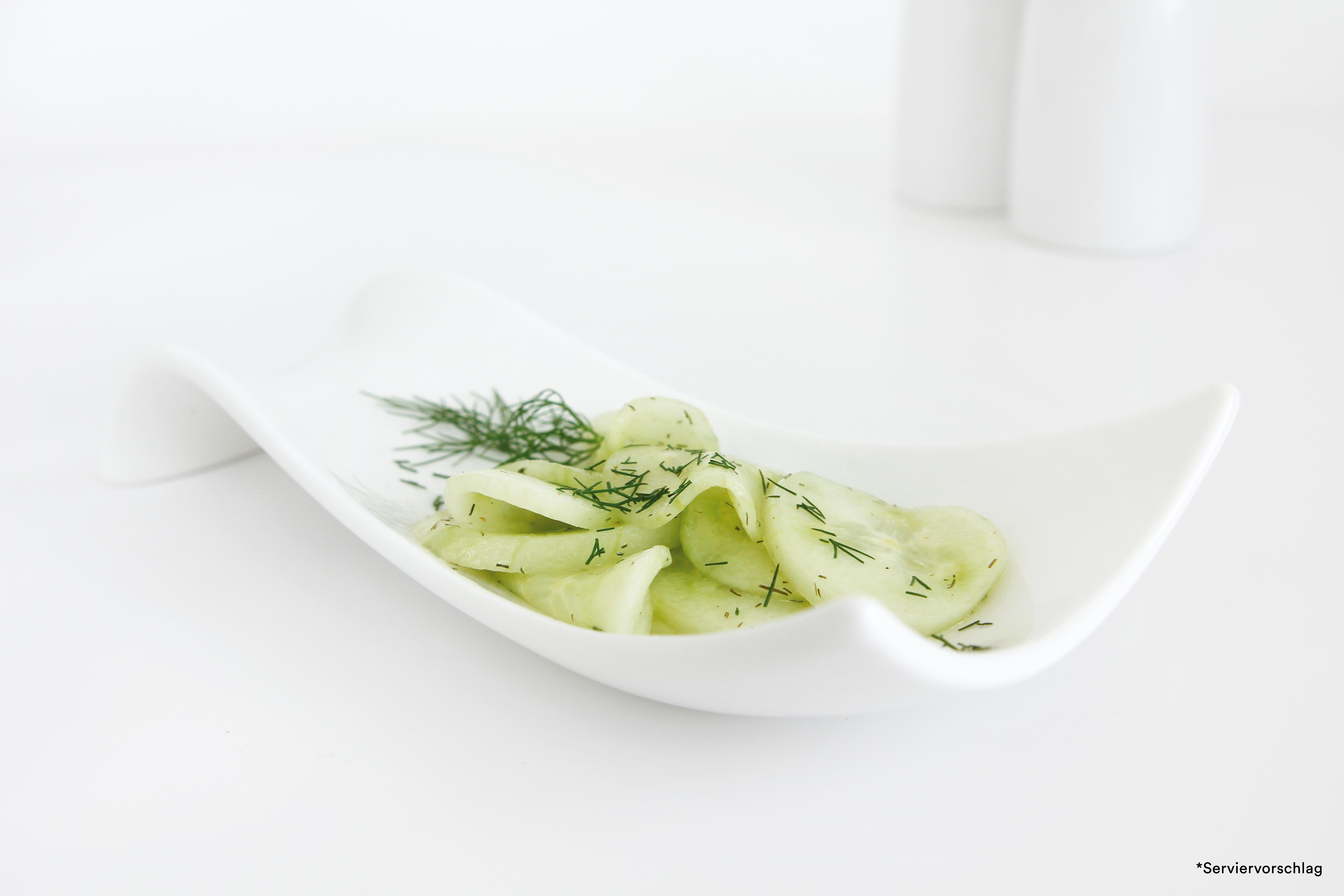 Gurkensalat, Scheiben ohne Schale